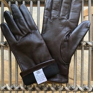 Accessories - Genuine leather cocoa brown winter gloves